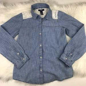 GAP Shirts & Tops - GapKids Girls Lace Chambray Top Large